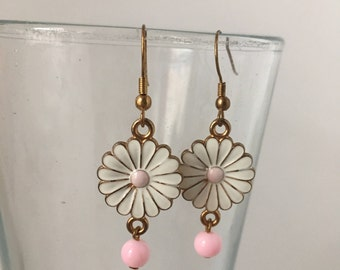 Gold and Pink Flower Dangle and Drop Earrings