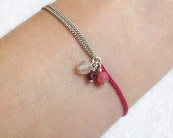 "Bracelet ""Epi"" pink, Garnet, Serpentine, pink Quartz, silver, silk"