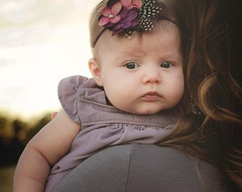 Purple and rose flower headband with feathers/ Newborn headband/ Baby headband/ Girls headband