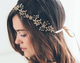 Bridal Headband, Bridal crown, Gold Hair Vine, Gold Leaf Hair Vine, Gold Headband, Gold crown, Bride Gold Hair Accessories, Gold headband