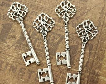 10 Key Charms Key Pendants Antique Silver Tone Skeleton Keys 63 mm/ 2 11/16 inch
