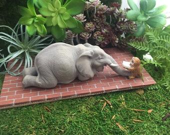 Elephant Figurine, Elephant and Owl Reading, Mini Elephant, Style 4566, Fairy Garden Accessory, Home & Garden Decor, Shelf Sitter, Topper