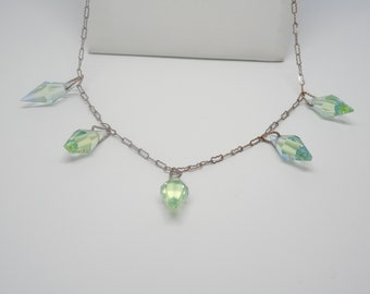 Antique Victorian Glass Drop Necklace Sterling Silver AMAZING!