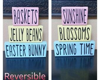 Spring/Easter Wood Blocks - Spring Wood Blocks - Easter Wood Blocks - Reversible Wood Blocks - Spring Decor - Easter Decor - Wood Blocks