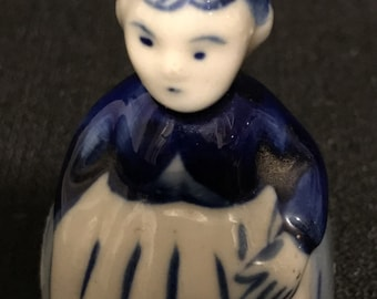 Vintage Bell Ceramic  Lady Bell Blue and White  Bell, Bell Collection Cottage Chic,