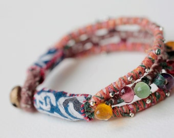 Upcycled Fabric Bracelets, TRIPLE tie w Stones, Beads, Small Light Metal Silver Colored Bell, Colorful