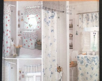 Uncut FF Simplicity Home 9153 Sewing Pattern Shabby Chic Bathroom Shower  Curtains Vanity Sink Skirt Cover