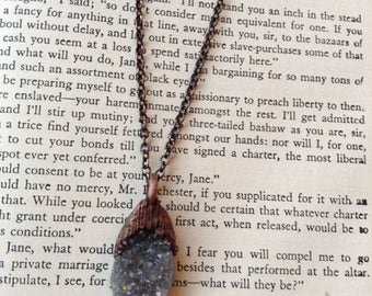 quartz druzy, copper electroformed, electroformed, unique gemstone, gifts for her, trending, raw gemstones, healing necklace, copper chain
