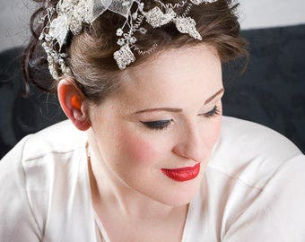 Silver hair vine, Ivy tiara, Silver wedding tiara, hair vine, Hair wreath