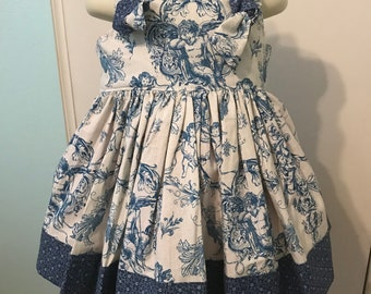 Girls handmade Boutique Angel Toile Knot dress sizes 2t and 3t