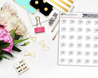 Hand Drawn Mini Heart Speech Bubble Planner Stickers |  for use with Erin Condren Lifeplanner™, Filofax, Personal, A5, Happy Planner