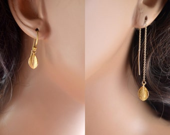 Mismatched Gold Earrings, Vermeil Leaf, Gold Filled Cable Threader, Earring String, Asymmetrical Jewelry