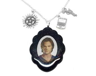Sam Winchester Supernatural Gift for Her / Jared Padalecki Jensen Ackles Cosplay / Demons Angels wing Castiel / Statement Necklace For Geeks