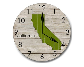 California clock, wooden clock, home decor, California decor, rustic wall art, rustic clock, home state clock, farmhouse decor, home state