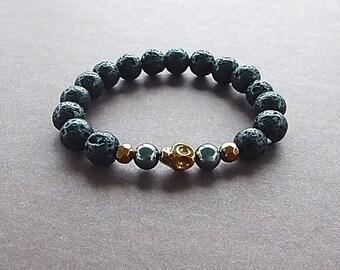Edgy Rockstar Black Lava Rock Gold Skull Bracelet Unisex Perfect For A Man or Woman