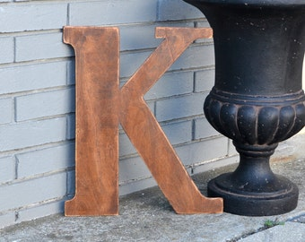 """18"""" Wooden Letter K, Rustic Wedding Guestbook, Classic Font in Distressed Chestnut Stain - all letters available in many colors"""