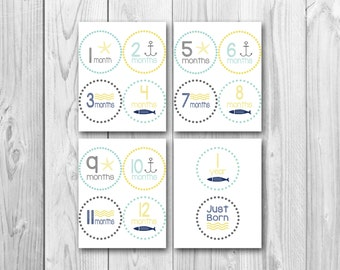 Printable monthly onesie stickers, baby's first year, photo prop stickers