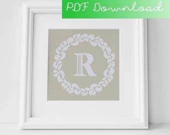 Grace Wreath Monogram (R) Cross Stitch PDF Pattern Digital Download