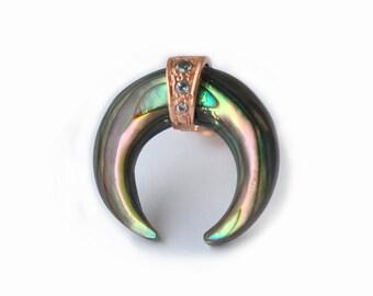 Single Earring, Abalone Shell Earring, Abalone Horn Earring, Crescent Earring, Crescent Stud, Moon earring, Pace Diamond Earring