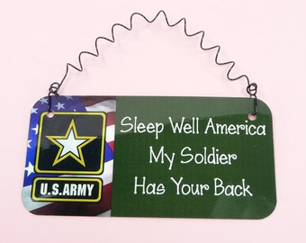 SIGN Sleep Well America My Soldier Has Your Back - Spouse Girlfriend Wife US Army Gift - Military Wall Hanging Decor Cute Metal Twisted Wire