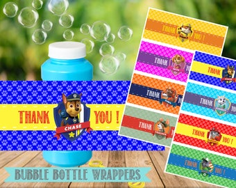 Paw Patrol Bubble Bottle Labels- Paw Patrol Birthday Party Printable-Digital-Instant Download