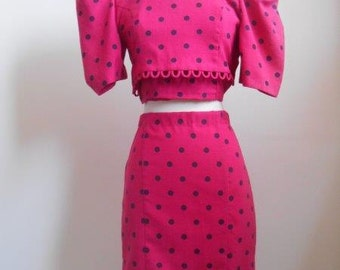 2 piece Polka Dot Crop and Pencil Skirt, One of a Kind! #cherryswandesigns