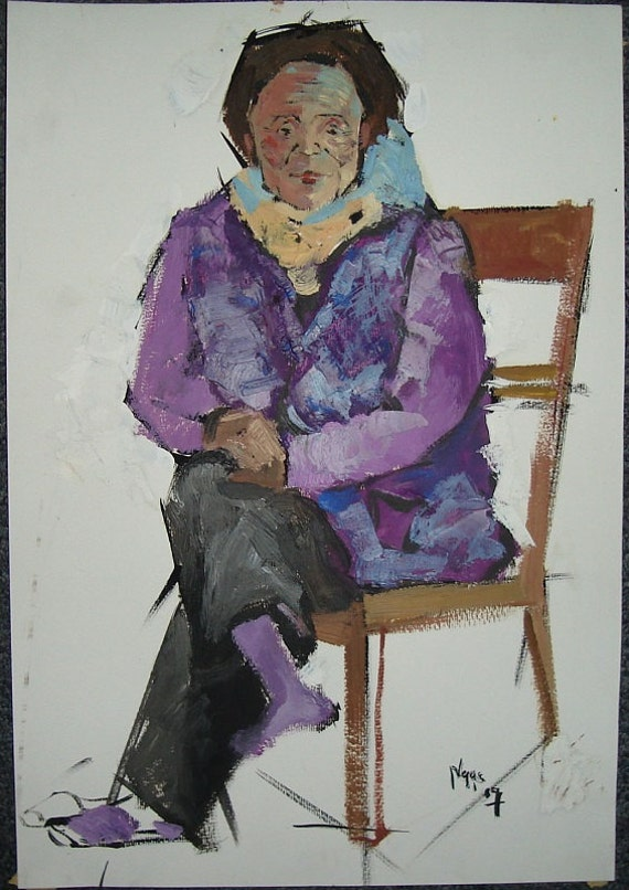 "VIOLET LADY 10.5x15.5"" original oil on paper, live painting, Vietnam village scene, original by Nguyen Ly Phuong Ngoc"