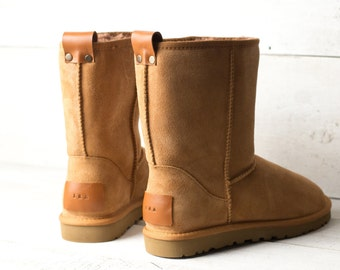 Winter boots women Genuine nubuck leather in tan color with personalization