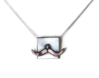 Sterling Silver And Copper Moustache Pendant, Cute Necklace, Humorous Gift, Hallmarked, Hand Crafted Design, Funny Best Friend, Gift For Her