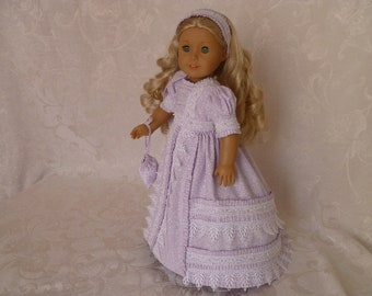 18 Inch Doll 1800's Netherfield Gown Hand Made with Pantaloons, Headband & Purse, Lilac 1800's Gown, Clothes fits American Girl dolls