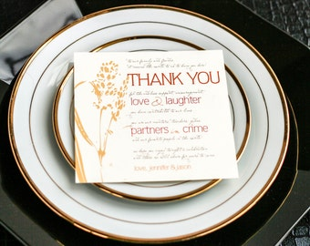 "Rustic Wedding Decor, Fall Wedding, Table Top Thank You, Orange and Yellow - ""Graceful Botanic"" Reception Thank You Sign 5.25x5.25 - DEPOSIT"