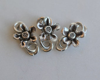 "Clasps, Karen Hill Tribe Silver, Flower ""S"" Clasp, Thai Silver Clasps, Hill Tribe Clasps, Hill Tribe Jewelry, Tribal Clasps, One, AL15-011"