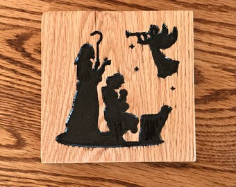 Nativity Shepherds - engraved sign