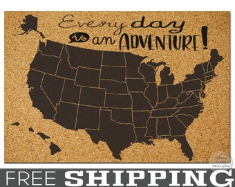 United States Travel Map // X-LARGE Pinnable Cork Map of the USA // Bulletin Board Map // Dorm Room Decor//Push Pin Map// Travel Cork Board