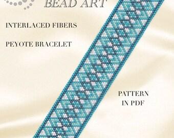 Pattern, peyote bracelet - Interlaced fibers peyote bracelet pattern in PDF - instant download