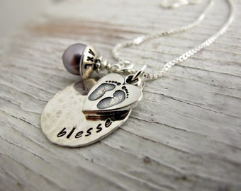 Blessed Mother Necklace, Personalized, Hand Stamped, New Mommy, Baby Footprints, Kids Name Necklace, New Mother Gift