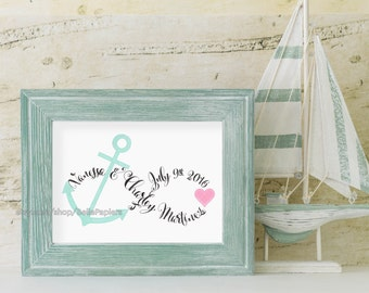 Anchor Decoration Anchor Infinity Art Wedding Anniversary Paper Anniversary Infinity Wall Hanging Customized Wedding Date Calligraphy