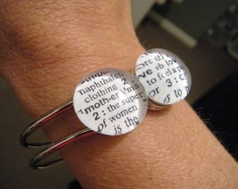 YOU CHOOSE 2 WORDS Glass Marble Dictionary Definition Word Hinge Cuff Bracelet Mother Love