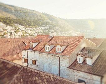 croatia photography, dubrovnik, old town, orange decor, travel photography, beige art, europe, Orange Rooftops D08
