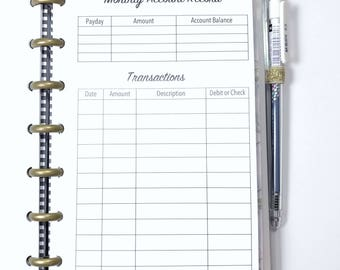 Bank Account, Monthly Account, Debit Purchases, Check Register Inserts for the Mini Happy Planner, Mini Size Disc Planner