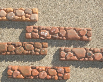 5 Brown/ Terra Cotta DECORATIVE Tile Trim Pieces 1 X 6  Rock Pattern