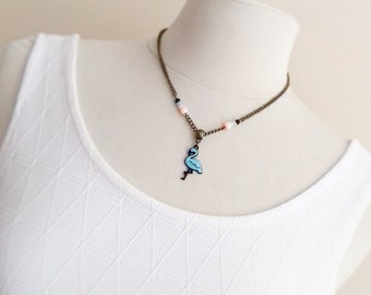 Flamingo Pink or blue necklace