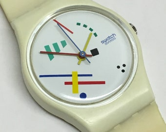 Swatch Watch Vintage Ladies Vasily LW111 1986 Abstract White Colorful Lines Retro Swatch Watch Gift