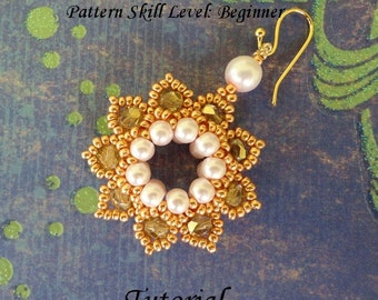 CLASSIC ELEGANCE beaded earrings or pendant beading tutorial and pattern seed bead jewelry beadweaving tutorial beading pattern instructions