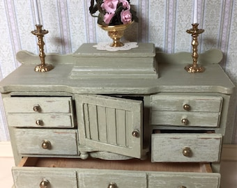 REDUCED Beautiful Green One Inch Scale Dresser with Slight Distressing for a Dollhouse