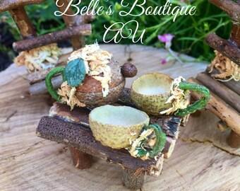 Acorn tea set, tea pot, fairy tea set, miniature tea set, faerie tea cups, tea set, fairy garden accessories, miniature tea cups
