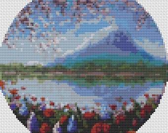 Blue Mountain Cross Stitch Kit, CIRCULAR Cross Stitch, Garden Embroidery Kit, Flower Cross Stitch, Art Cross Stitch