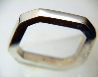Octagon Silver Argentium ring