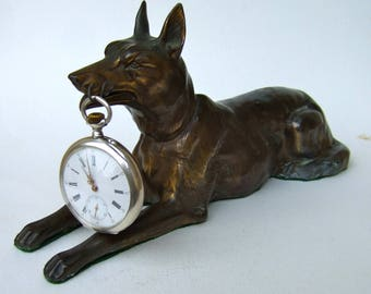 Antique FRENCH  POCKET WATCH Stand /Display Holder 1920's Sitting Dog