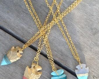 Handmade Arrowhead Necklace, Boho, Festival, Tribal, Gypsy, Goddess, Celebrity, Healing, Native, Western, Painted (Native Nature Necklace)